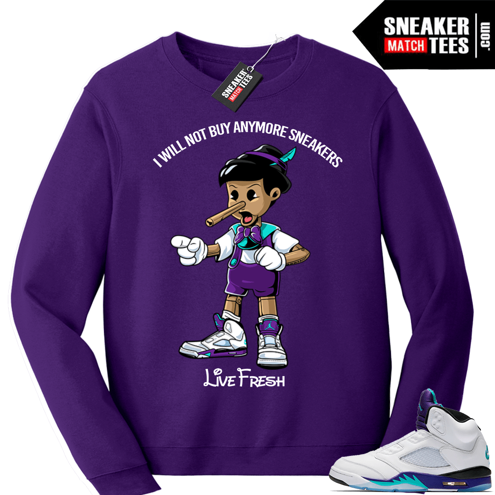 428433e0029 Air Jordan 5 Sweatshirt Grape | Sneaker Match Tees