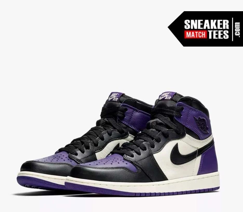 on sale 81667 6e6b6 Jordan 1 Court Purple Shirts match sneakers | Sneaker Match Tees