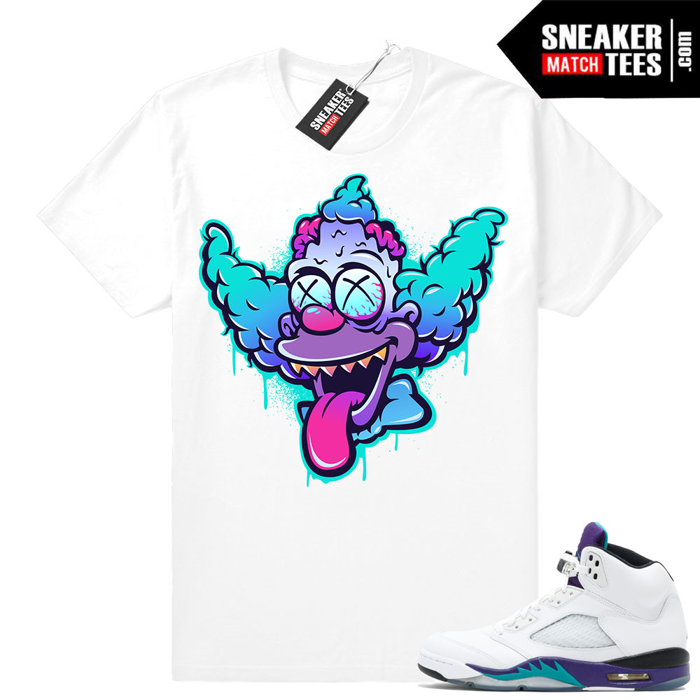 hot sale online 9002d 08693 Jordan Retro 5 Grape Matching Sneaker Tees Shirts