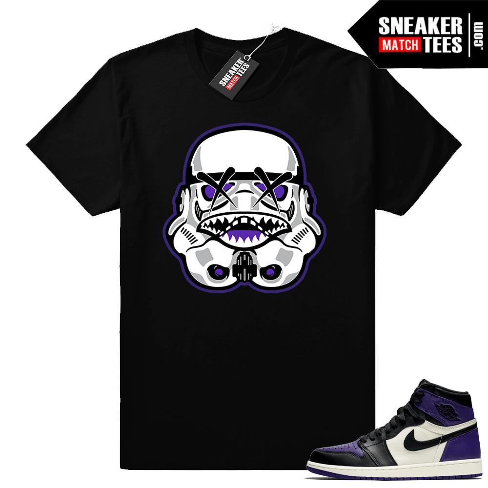 sports shoes 894bb 4404b Jordan retro 1 Court Purple shirts   Jaws Trooper   Black shirt