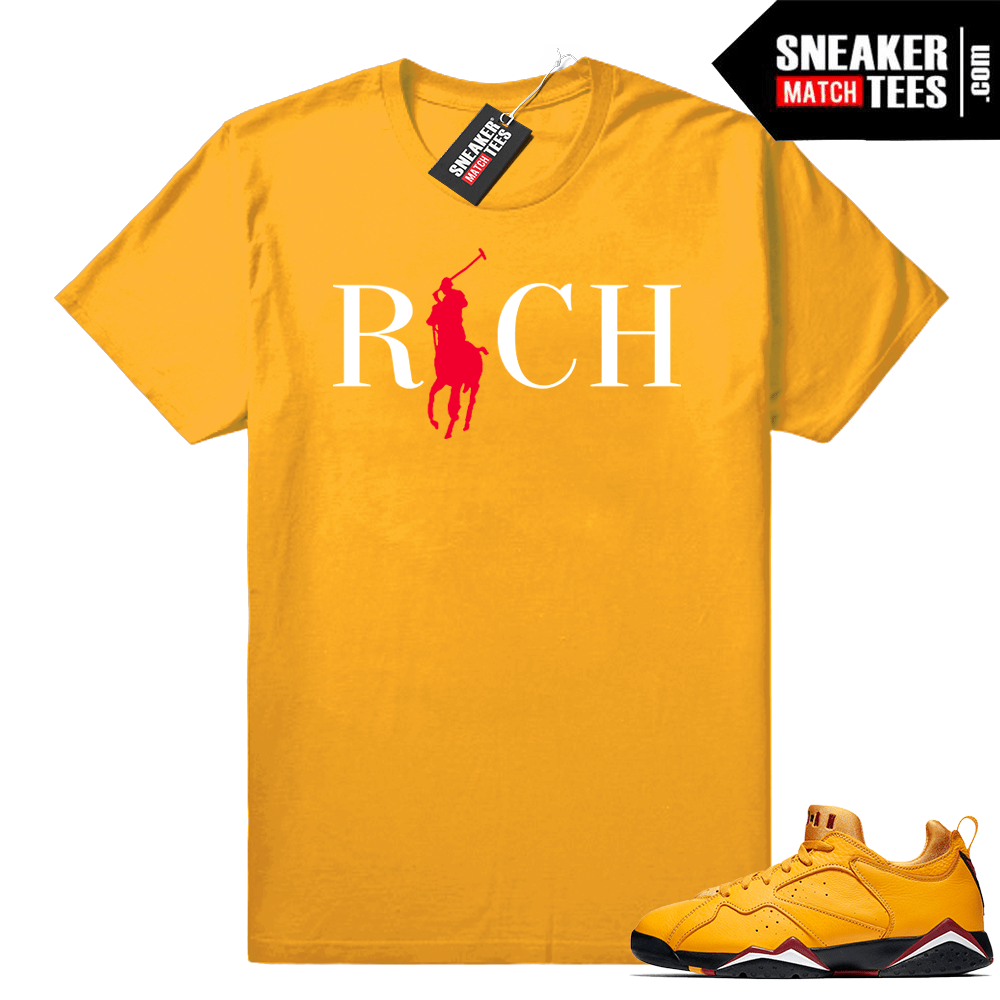 the best attitude 50614 1fe12 Match Jordan 7 Low Taxi Yellow shirt | Country Club Rich | Yellow Shirt