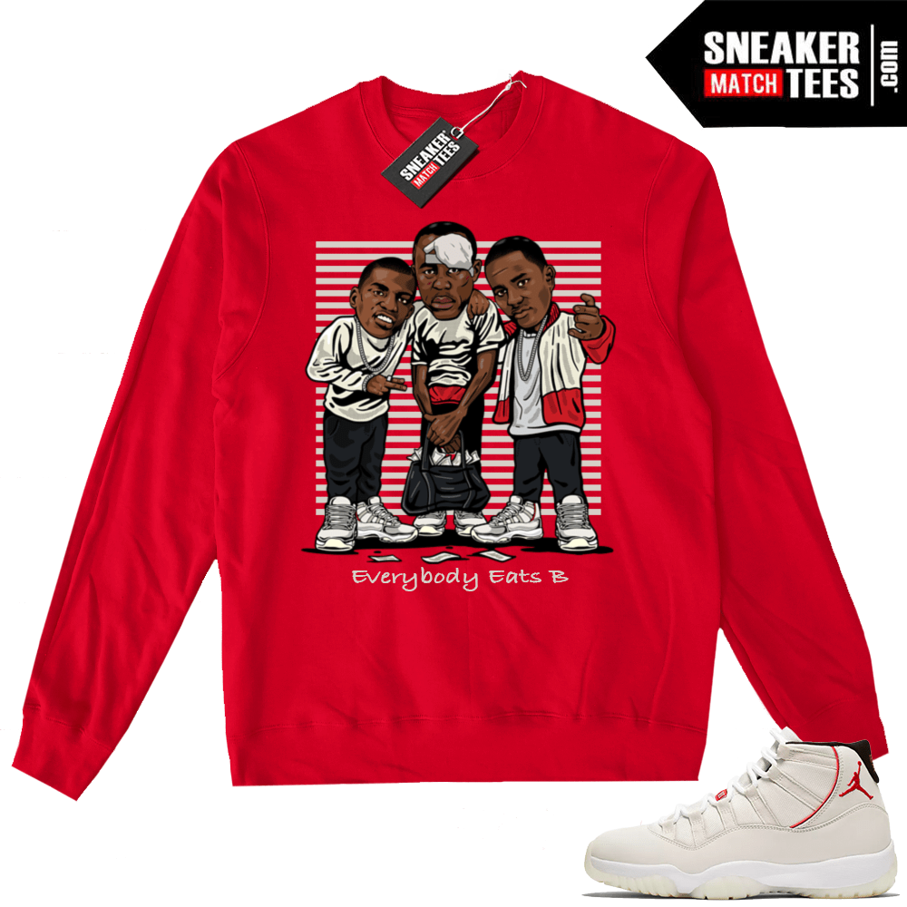 Jordan 11 Platinum Tint Everybody Eats B Red Crewneck
