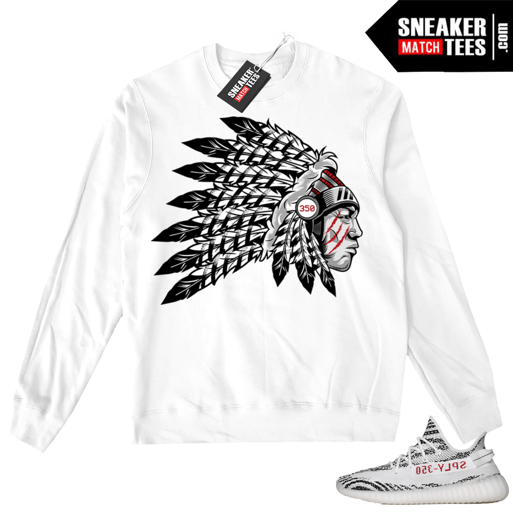 Yeezy Boost 350 V2 Zebra White Crewneck Sweater