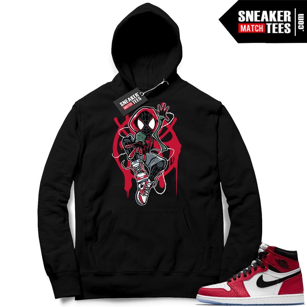 519c7b47fcd Jordan 1 Spider-man Black Hoodie   Jordan sneaker clothing