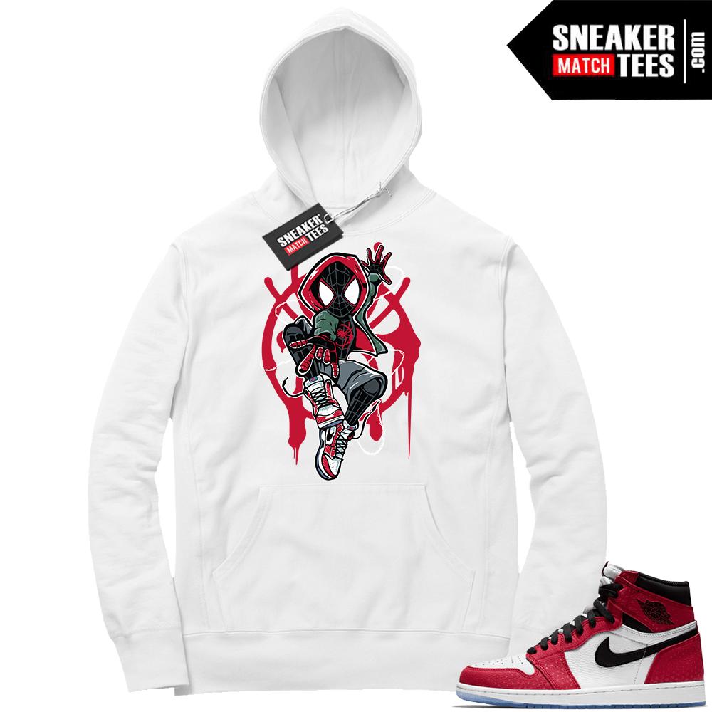 cfbad65ebf9 Jordan 1 Spider-man White Hoodie | Jordan sneaker clothing