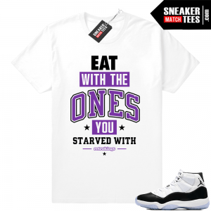 6de414088647 Jordan 11 Concord Eat white t shirt