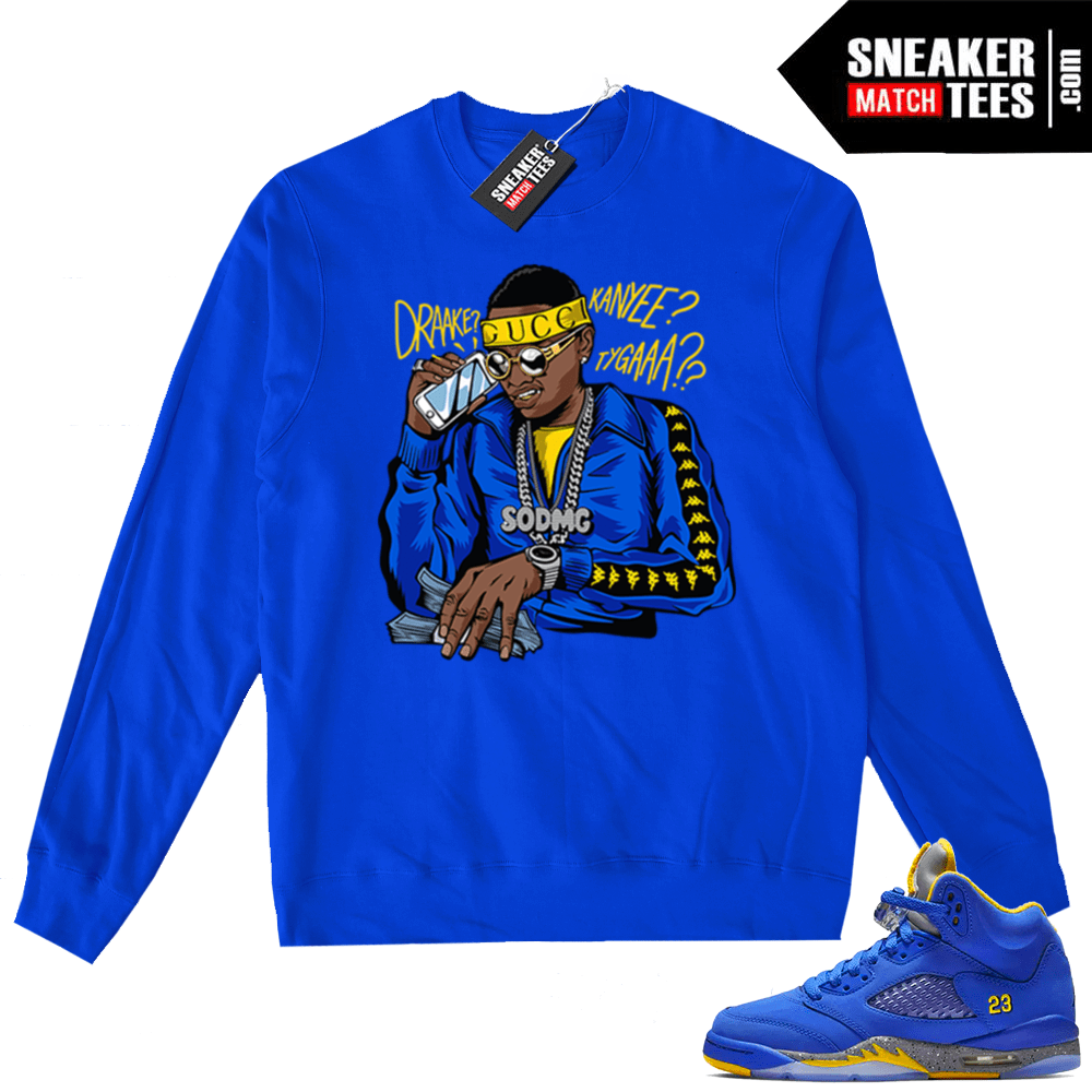 2d83d5c0637 Jordan 5 Laney Royal Soulja Boy sweater | Jordan sneaker clothing