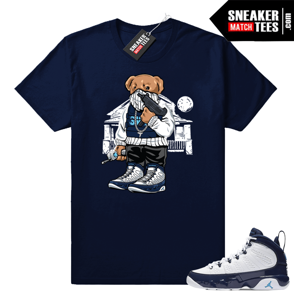 save off f47ba d6cf9 Jordan 9 UNC | Trap Bear | Navy shirt