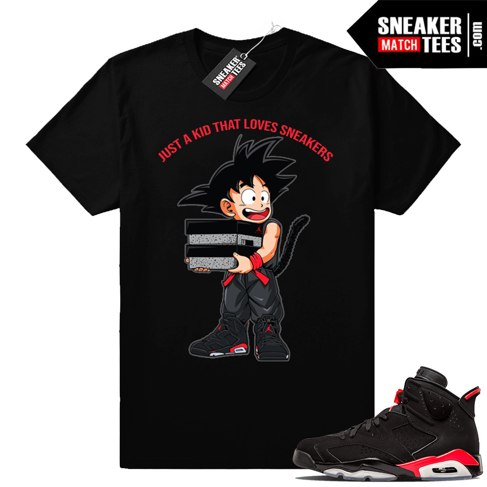 official photos bd16e 5da15 Air Jordan 6 Black Infrared tee shirts | Just A Kid | Black shirt