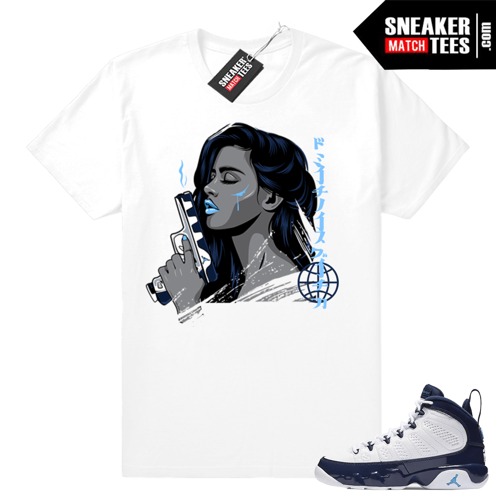 pretty nice 94279 065af Air Jordan 9 Pearl Blue match shirts