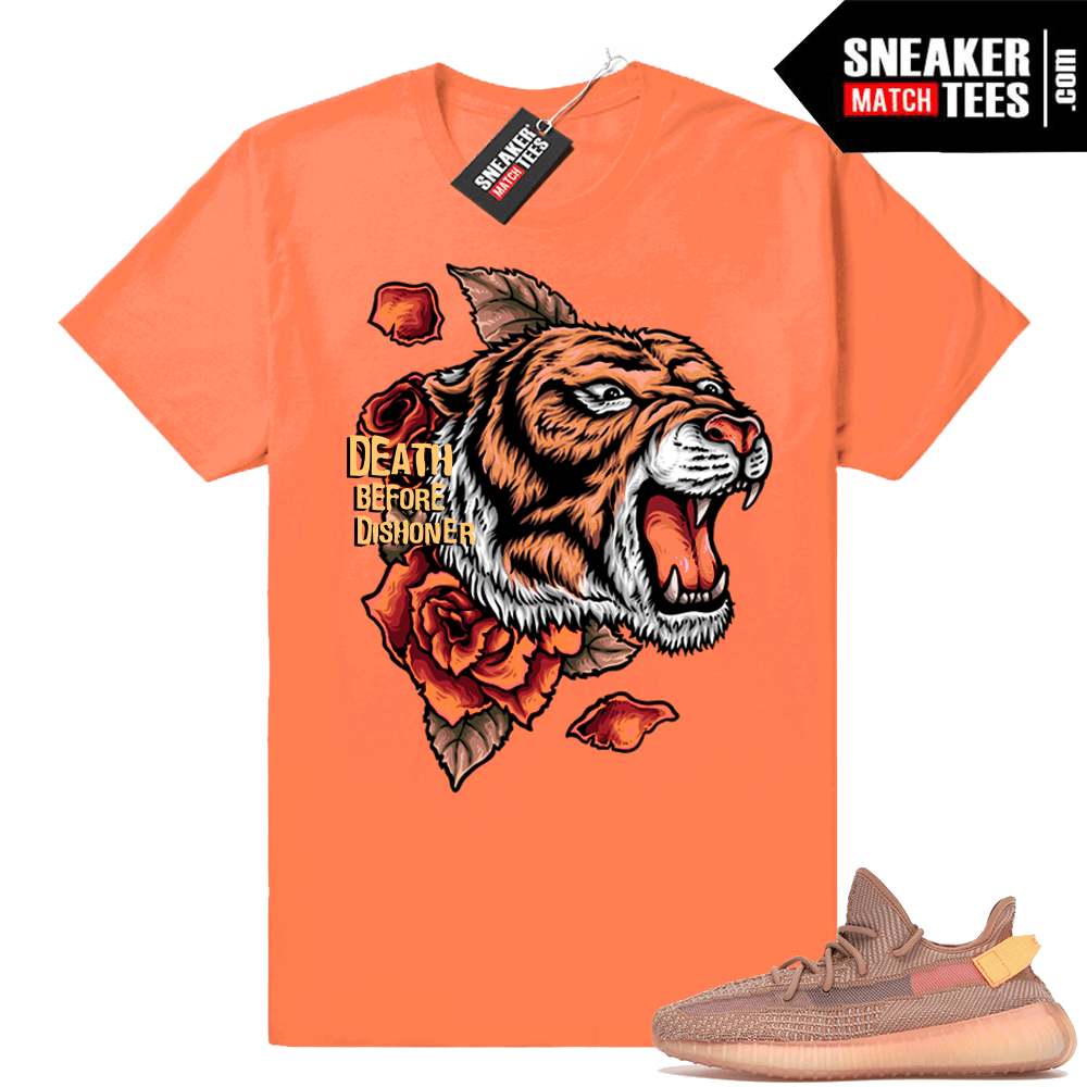 Yeezy Boost 350 V2 Clay Death Before Dishoner orange tee