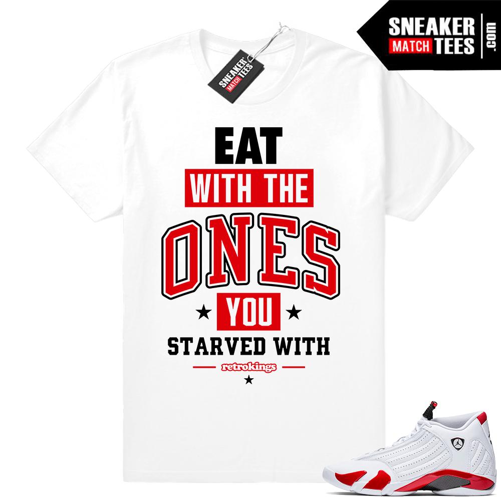 1f8072c378100d Jordan 14 Candy Cane sneaker shirt