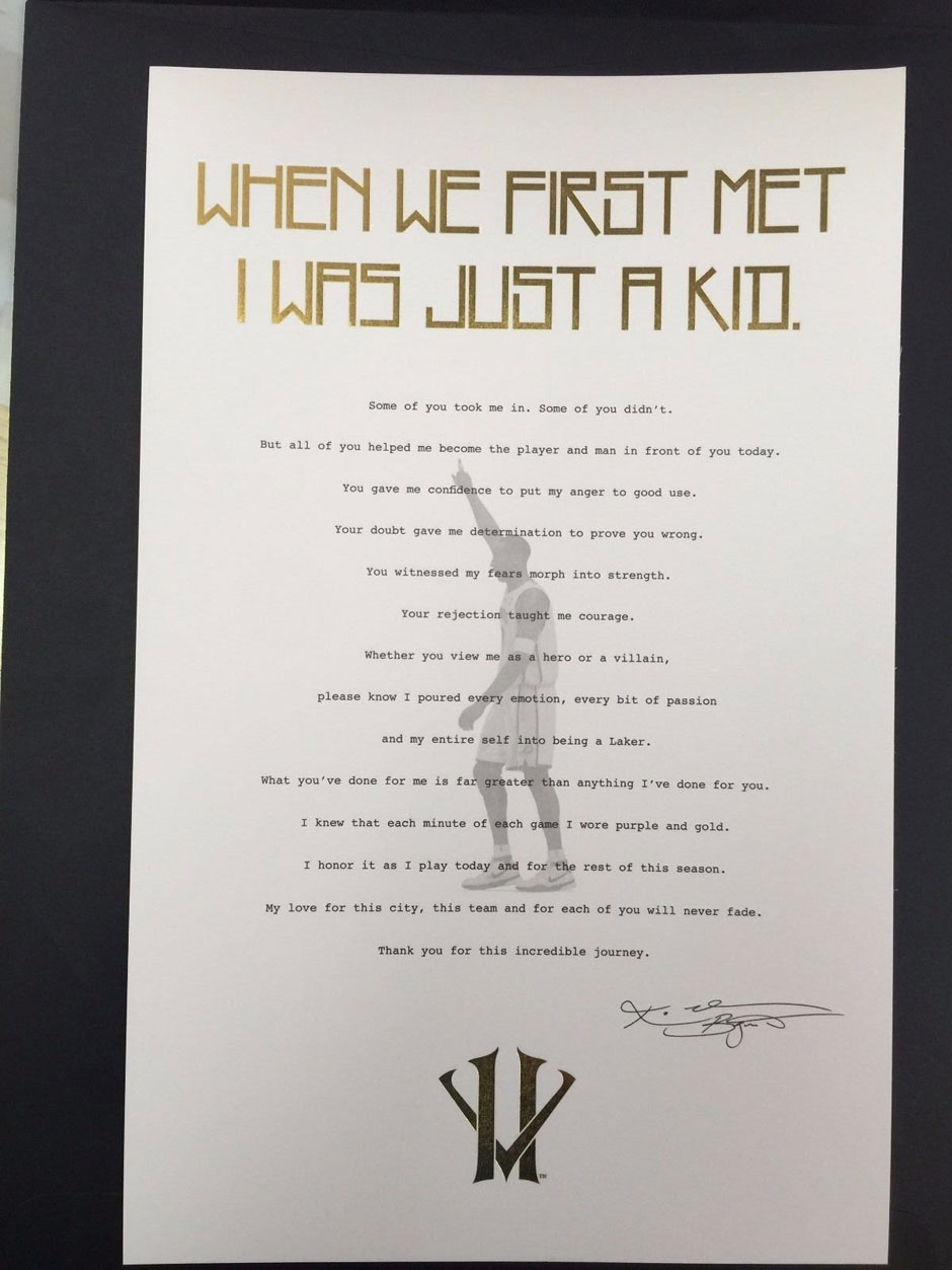 Kobe Bryant's Retirement Letter To Laker Fan Hits eBay - SneakerNews.com