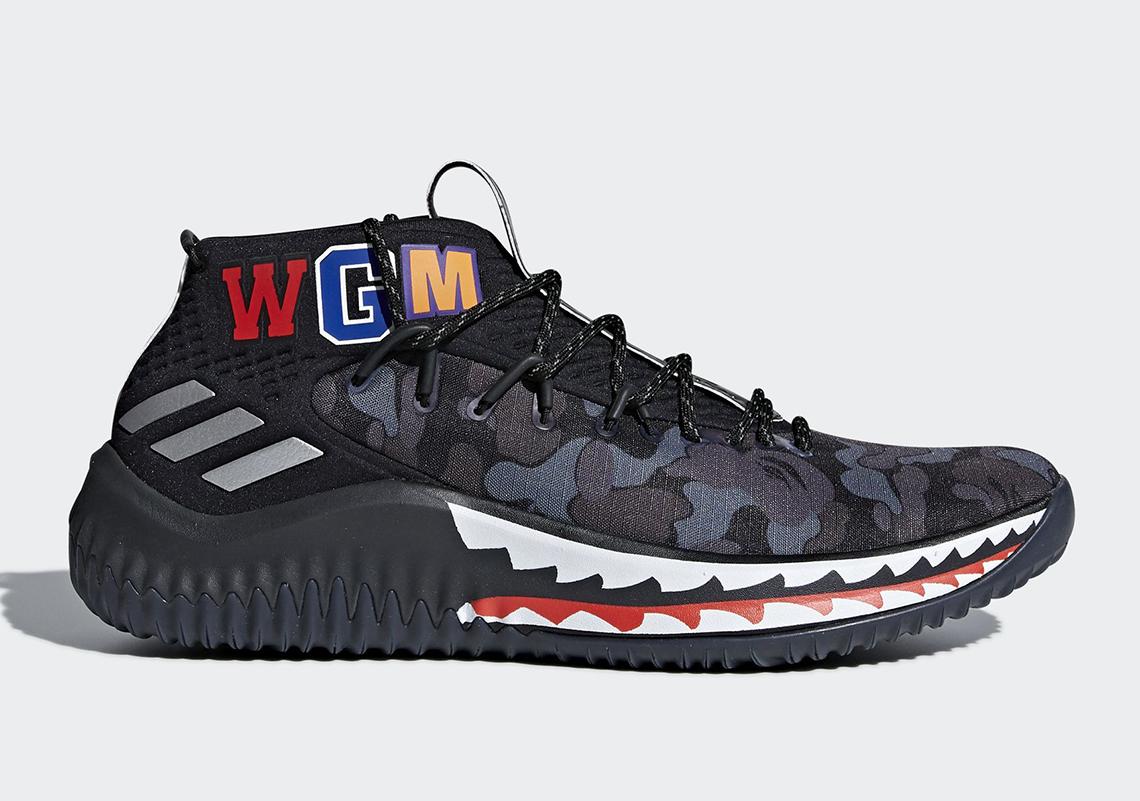 BAPE x adidas Dame 4 Detailed Look AP9974 + AP9975 Detailed Look   SneakerNews.com