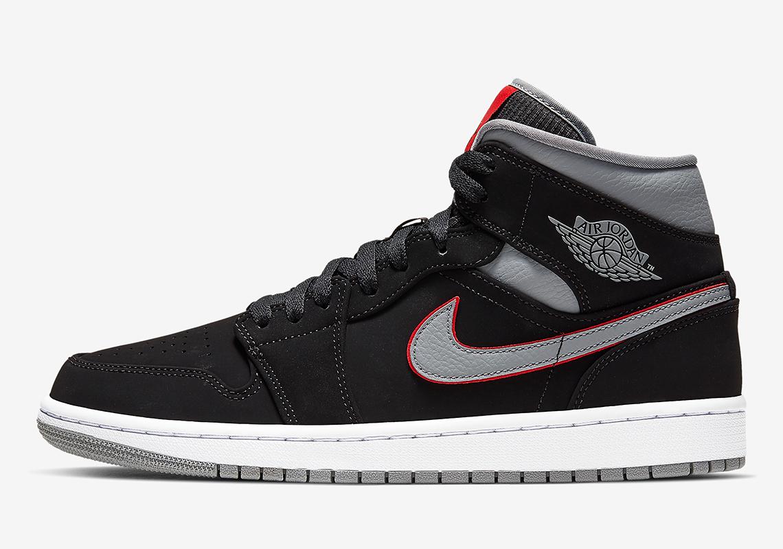 Jordan 1 Mid Black Grey Red 554724060 Info  SneakerNewscom