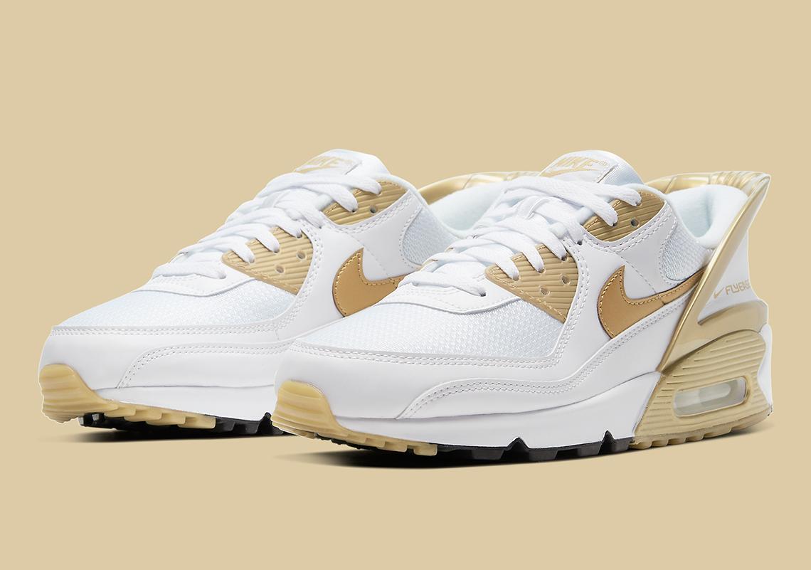Nike Air Max 90 Flyease Blanc Or CU0814-100 - Crumpe