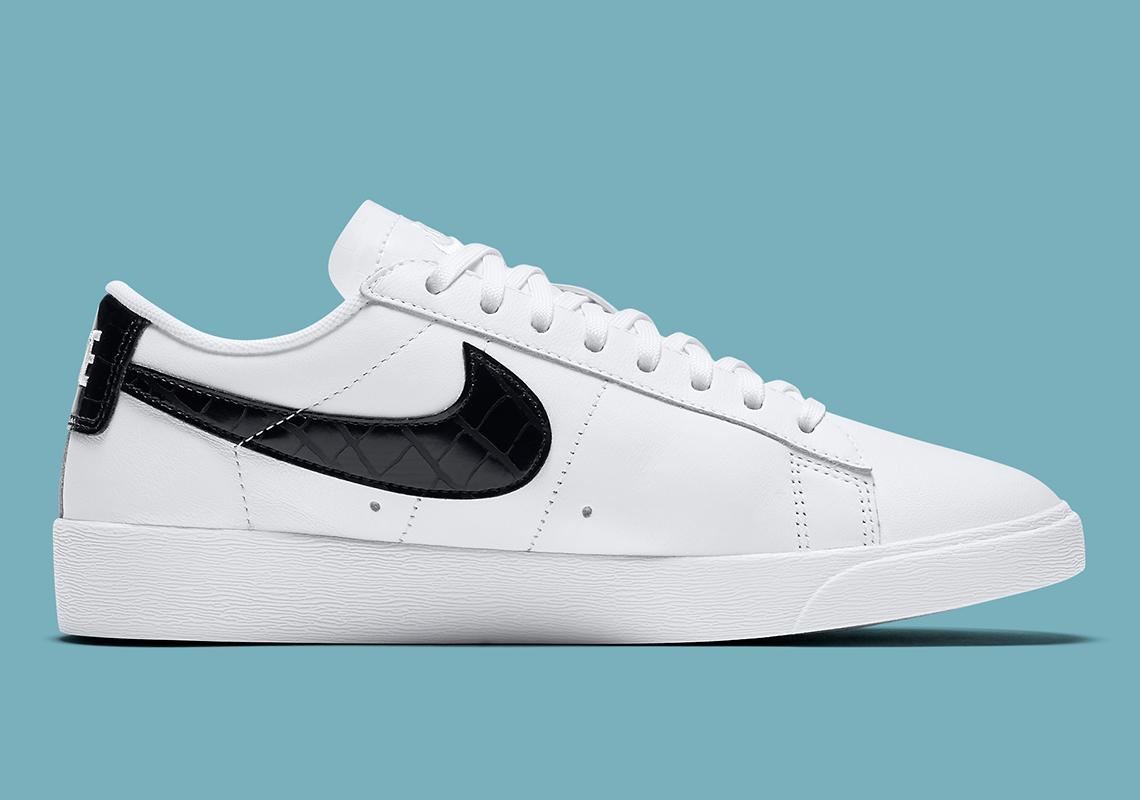 Nike Blazer Low Blanc Noir Croc BQ0033 100 Crumpe