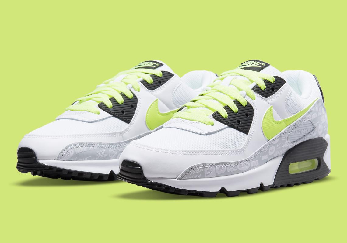Nike Air Max 90 Blanche Noir Volt DB0625-100 - Crumpe