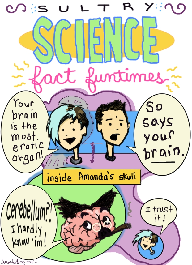 "Here is a very small and simple comic called ""Sultry Science Fact Fun Times.""  Amandoll says to Alex T: Your brain is the most erotic organ. Alex T replies: So says your brain.  Then, ""inside Amandas skull."" A brain that resembles Groucho Marx says, ""Cerebellum? I hardly know him!"" And Amandoll off to the side enthusiastically says, ""I trust it!"""