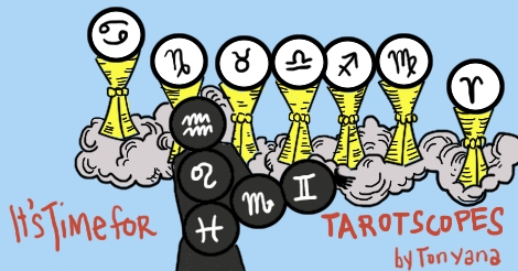 """A revised rendition of the 7 of Cups card, only rearranged to show all of the astrological symbols in carefully placed orbs. It says """"Its time for Tarotscopes by Tonyana."""""""
