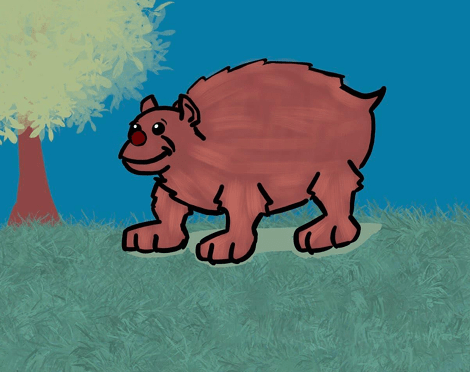 Illustration of an awkward looking brown bear. He is smiling and has a red nose. He is on a grass lawn and there is a tree.