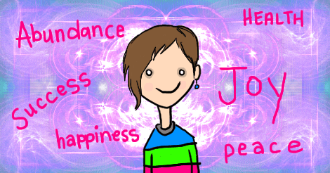 The same image as before: bright background, Amandoll has a new blank-eyed expression -- one with a vacant smile. Surrounding her are the words, in the same hot pink as on her shirt: Abundance, Health, Success, Joy, Happiness, and Peace.