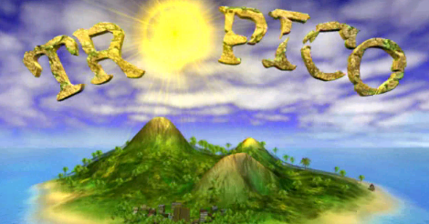 The game's title scene: Tropico written big with the sun as the O. A small island sits below it. All is beautiful.