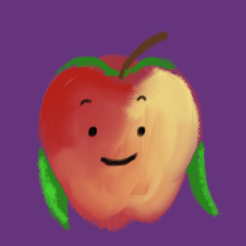 This friendly apple has a blend of reds and oranges and yellows on its skin. Its head leaves are long and flowing.