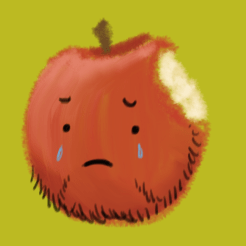 A little dimly red apple with a beard, and tear drops rolling down its cheeks. Also, most importantly, there is a bite taken from the top of it.