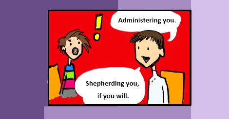 "An old comic's panel where Amandoll in in the background, jaw dropped completely in rage, while cchris says, ""administering you. Shepherding you, if you will."""