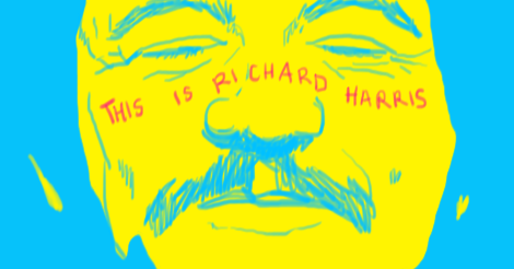 """A quick drawing of yellow faced Richard Harris smiling dimpled face with sky blue lines and in hot pink across his cheeks and nose is written """"this is Richard Harris""""."""