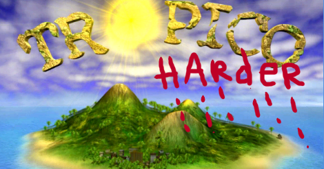 """The Tropico game title screen with """"harder"""" written in red and dripping blood."""