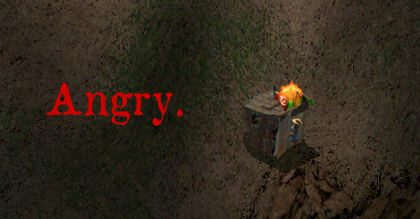 """screencap of a little woman walking into a shack. She has fire over her head. The text has been added to say """"angry"""" in red."""