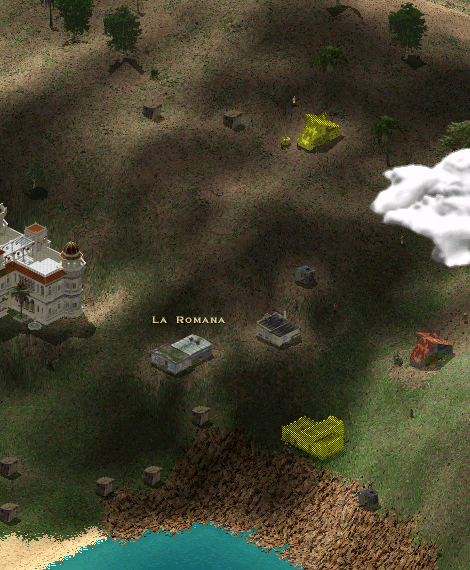 Gameplay screencap showing the steep mountainsides with little yellow buildings meant for the future. Here, it is a farm and a clinic.