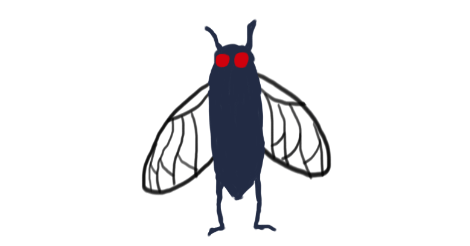A simple drawing of a cicada with red eyes and wings, standing upright like a human.