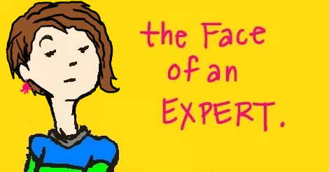 """Illustration of Amandoll, a girl with a loud striped shirt and asymmetrical hairdo, staring haughtily at the reader. Next to her are the words """"the face of an expert."""""""