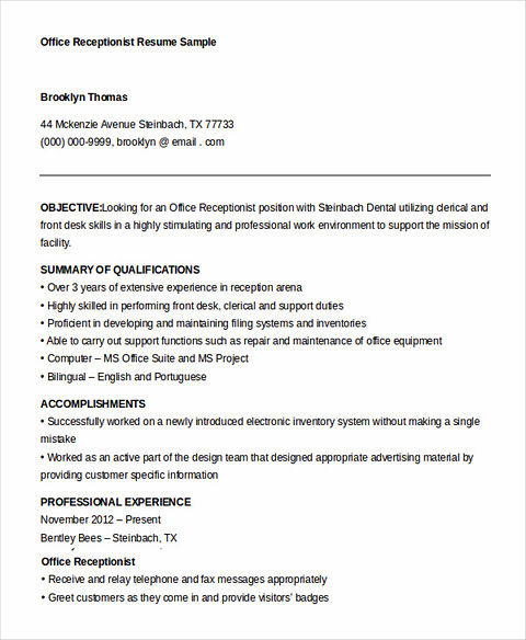 receptionist skills for resume examples