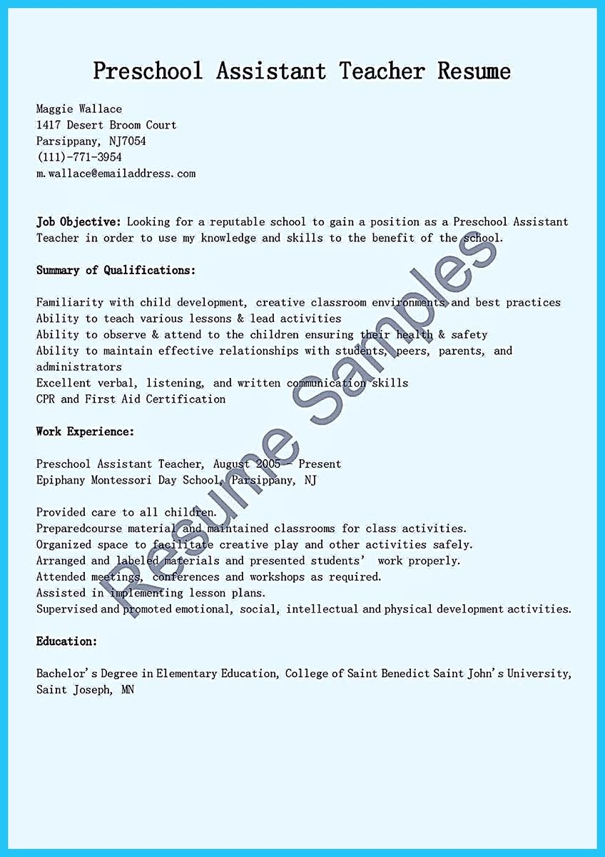 resume cover letter preschool teacher