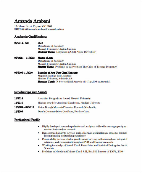 example of academic resume for college
