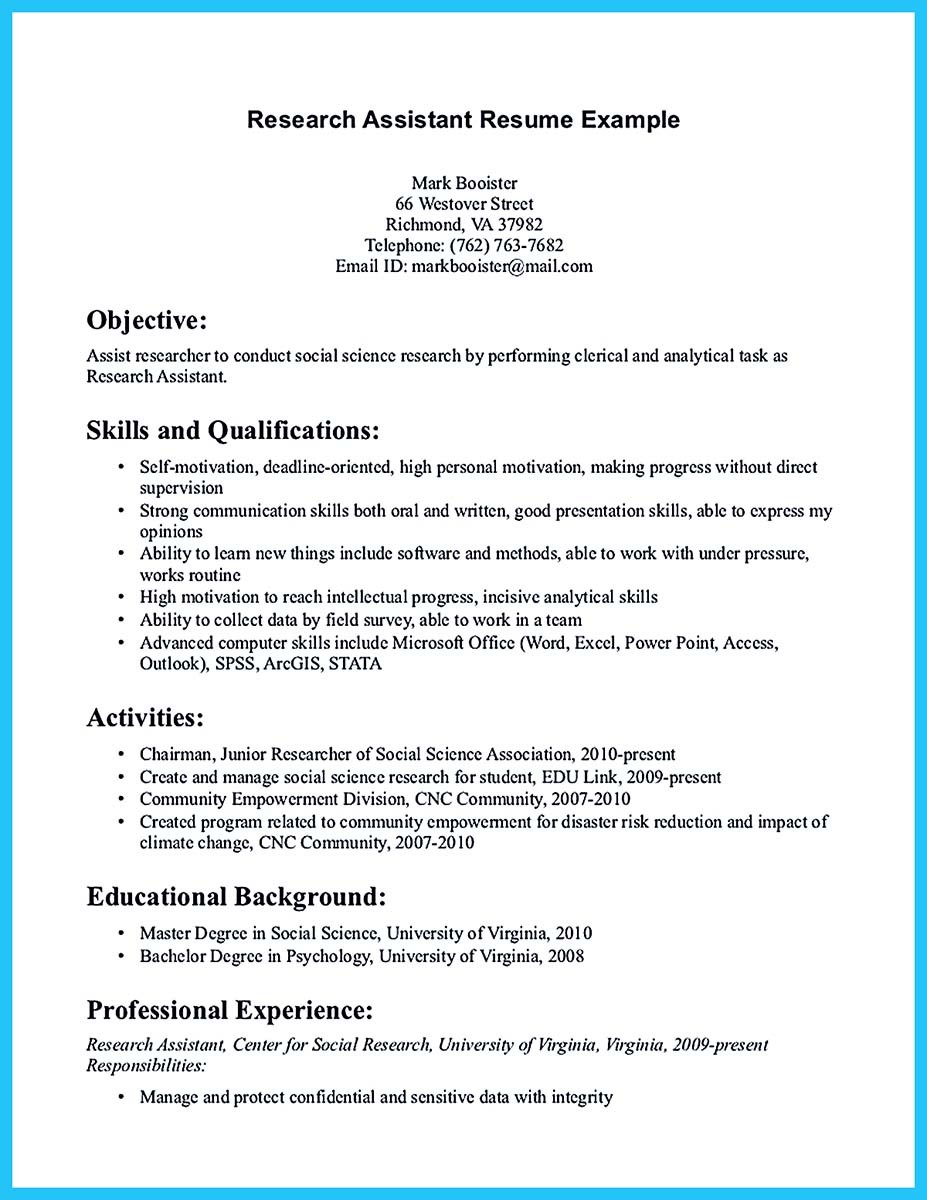 sample summary resume for research assistant