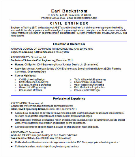 Some Necessary Keys for Civil Engineering Resume