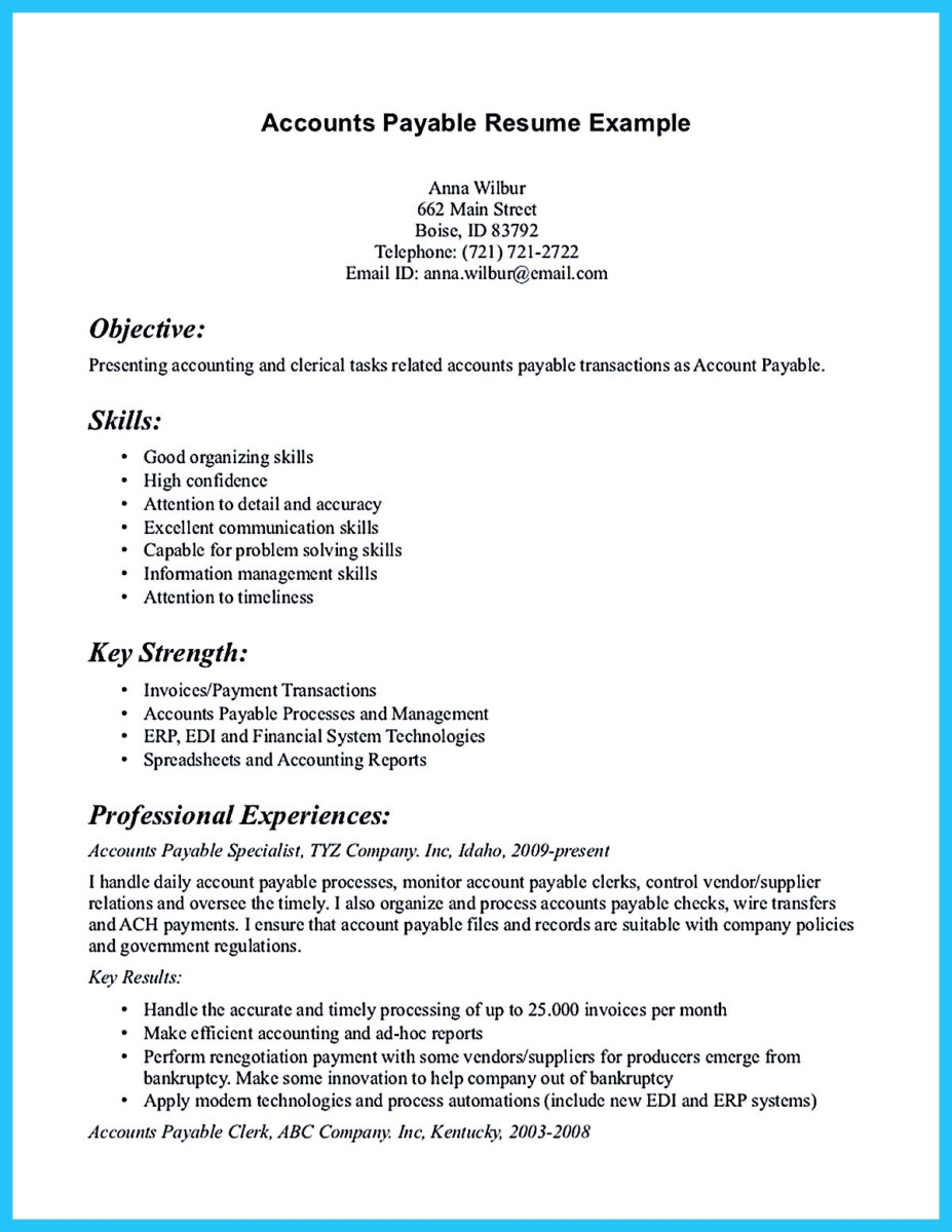 Best Account Payable Resume Sample Collections  Accounts Payable Specialist Resume