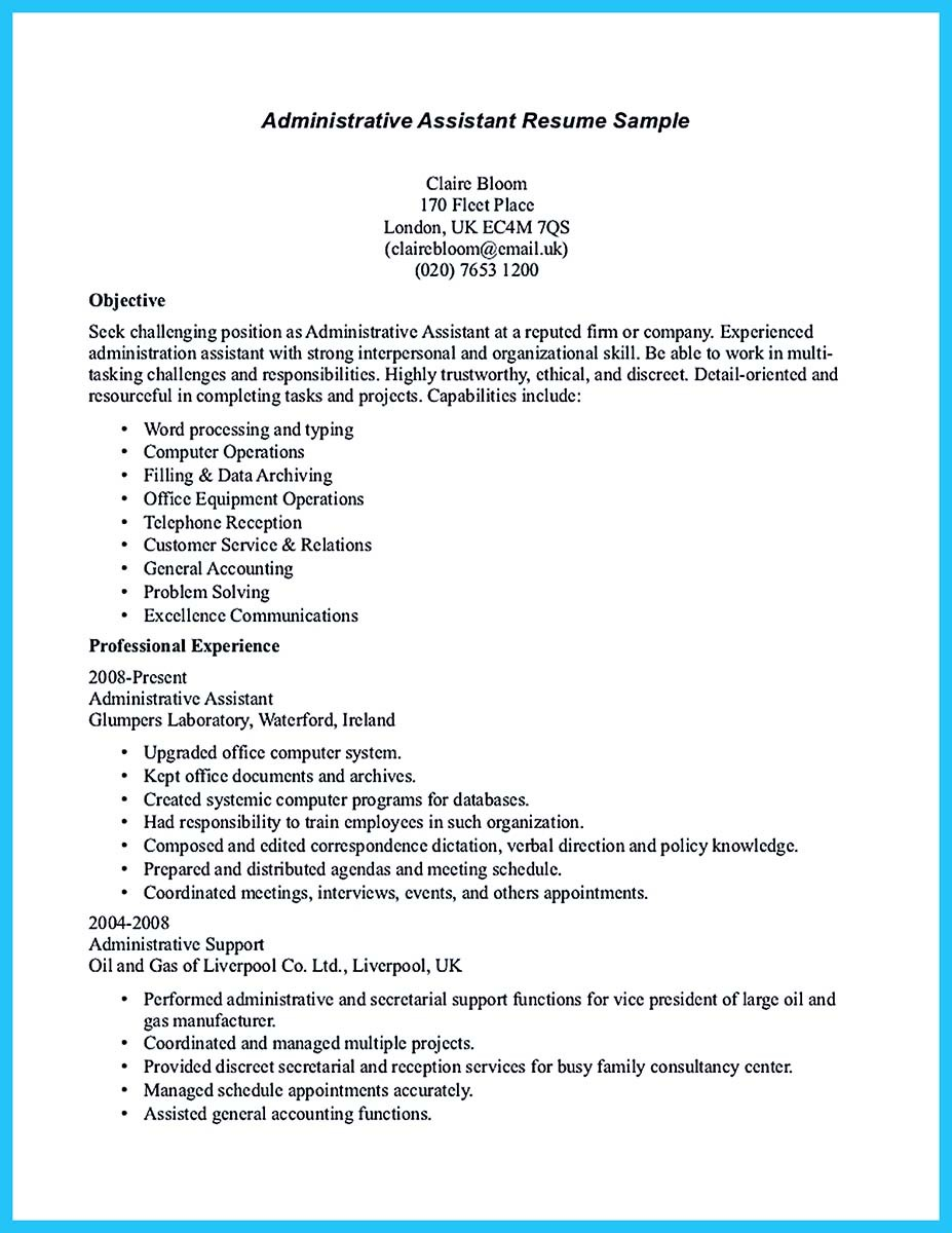 resume summary statement for administrative assistant