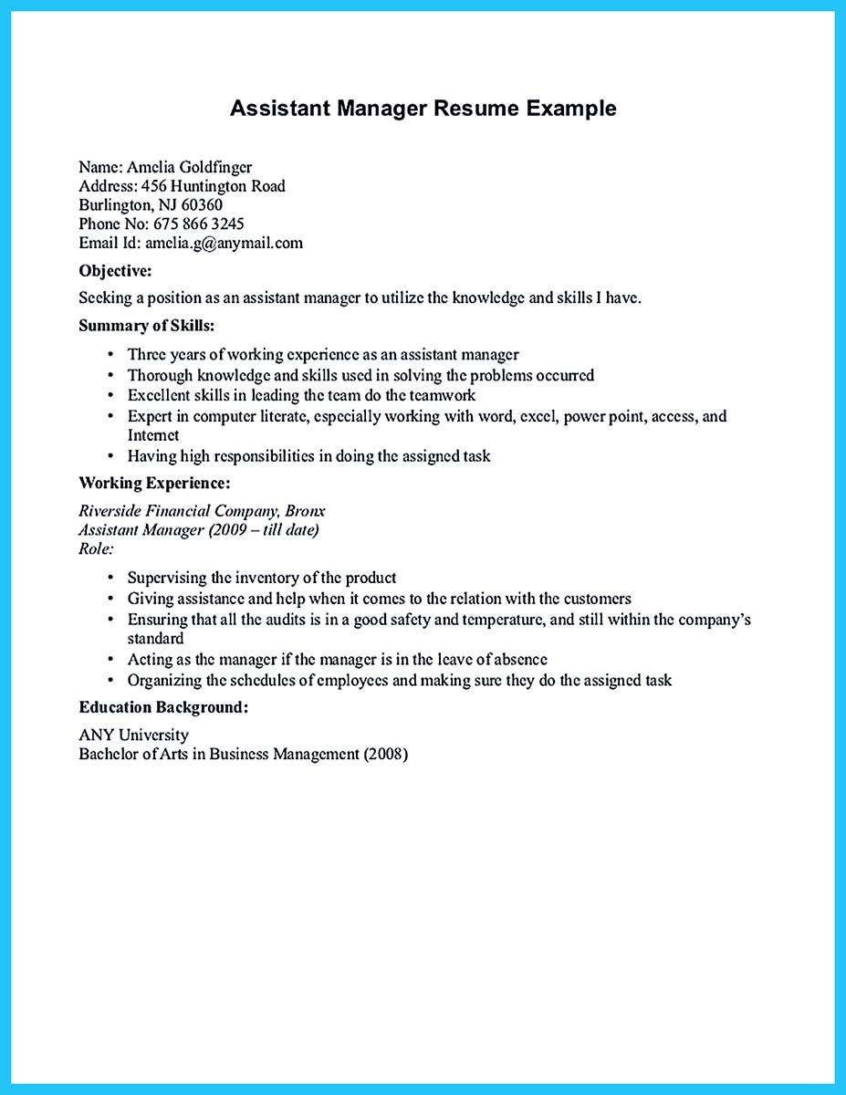assistant general manager resume skills example