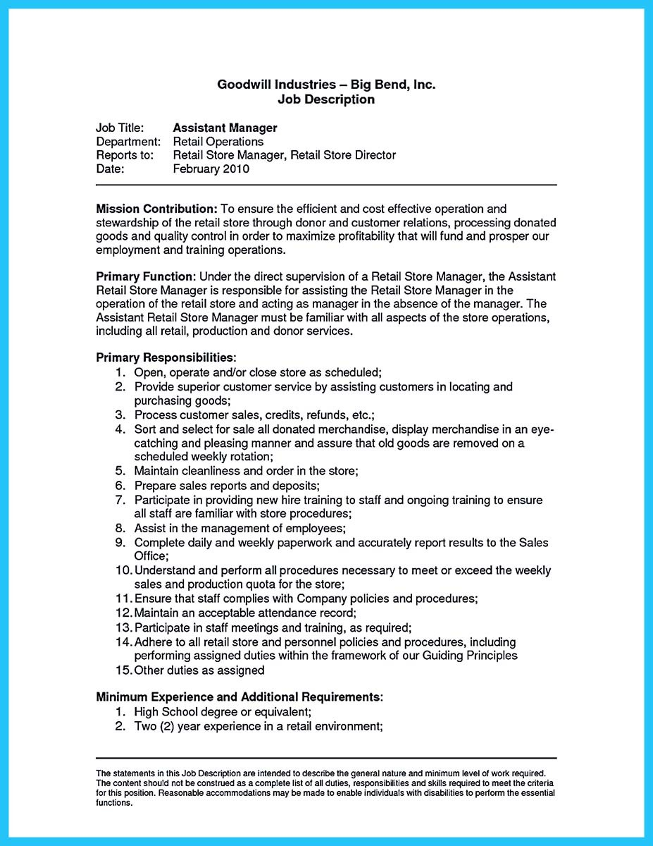 assistant manager resume requirements