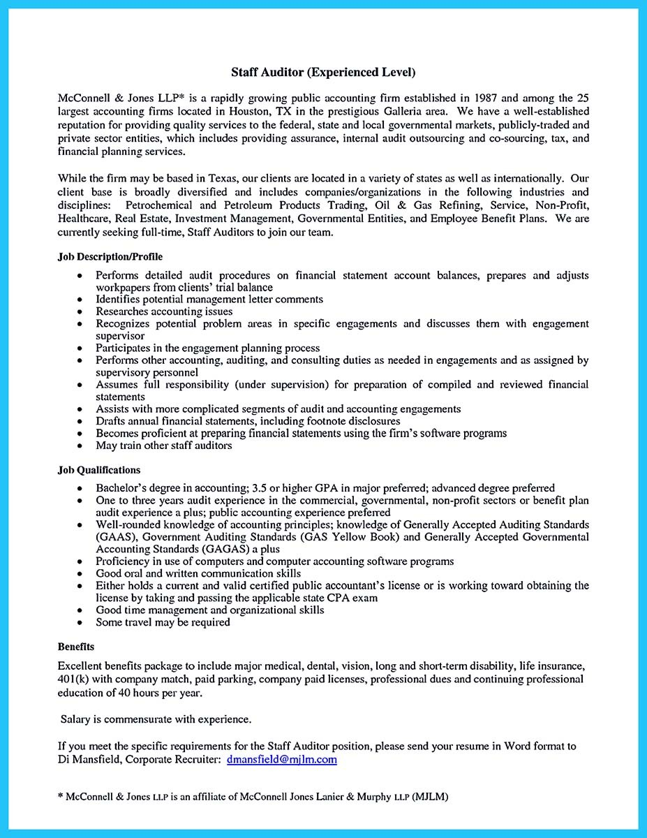Staff Auditor Cover Letter Making A Concise Credential Audit Resume