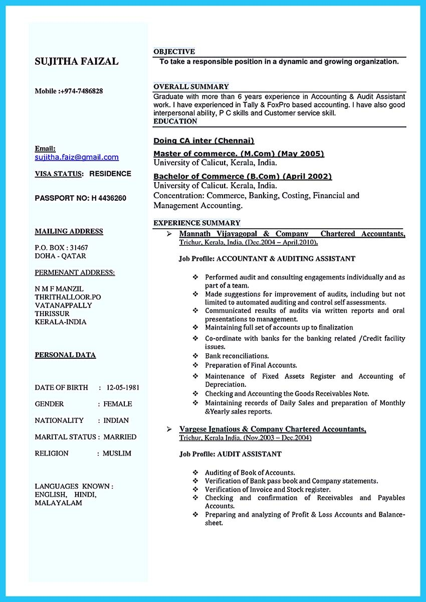 resume complete format