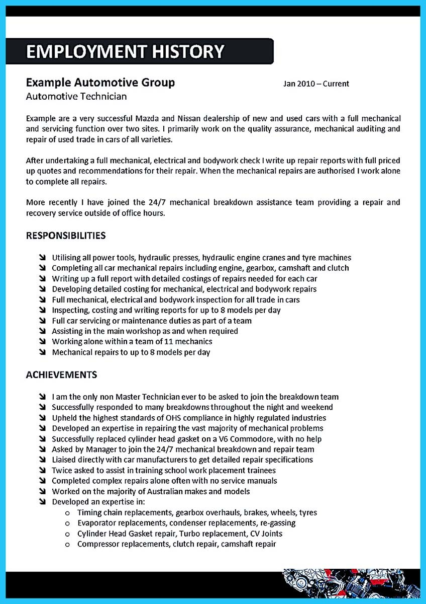 Auto Body Technician Resume Example - Examples of Resumes