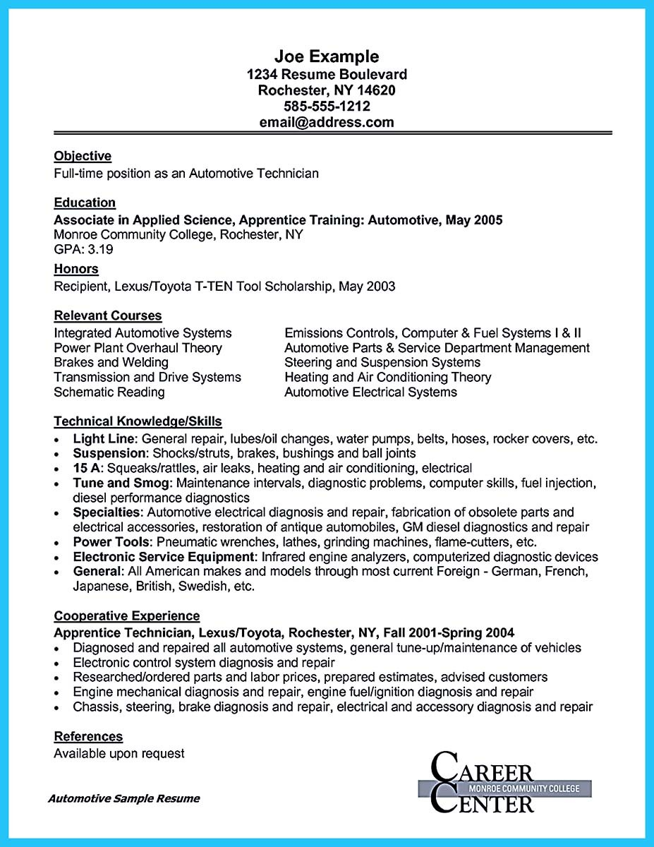 cover letter for auto mechanic