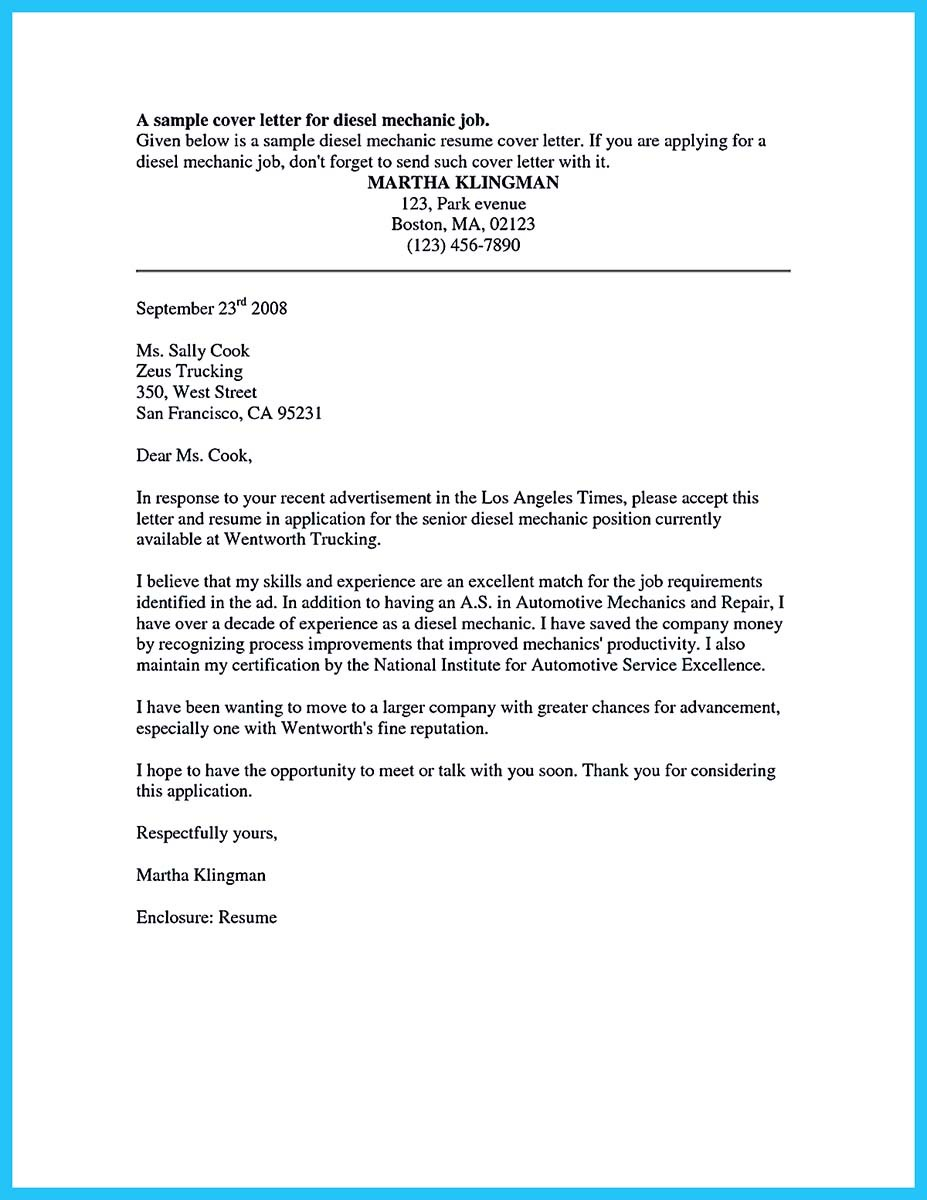 Automotive mechanic cover letter examples  Some other Cover up Mail Assets